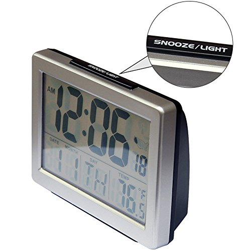 Jumbo Font Atomic Clock Self-Setting Time with Snooze LCD & Powered Alarm HM27