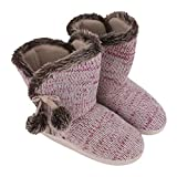 Winter Indoor Slippers, Women Girls Thick Fuzzy Fleece Lining Warm House Booties Cozy Ankle Snow Boots Knit Faux Fur Slipper Socks Christmas Stockings Shoes with Non-Skid Gripper Suede Soles Gift