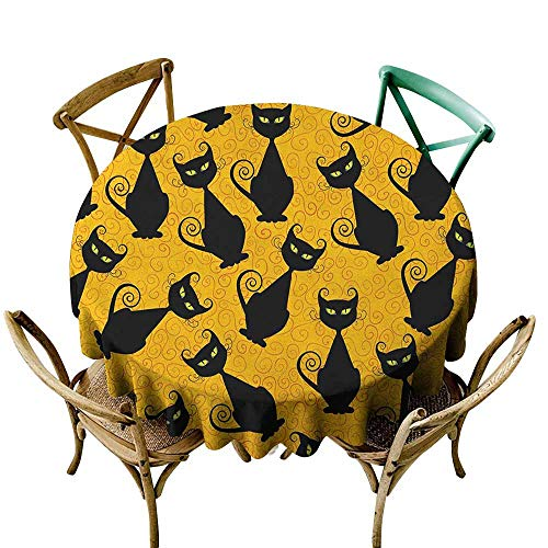 Sunnyhome Indoor/Outdoor Round Tablecloth Vintage Black Cat Pattern for Halloween on Orange Background Celebration Graphic Patterns Black Orange for Banquet Decoration Dining Table Cover 40 INCH]()