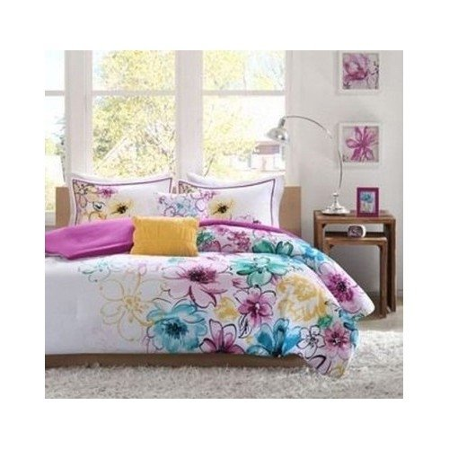 Comforter Bed Set Girls Teen Bedding Floral Flowers Teal Green Yellow Purple Full/queen or Twin Xl