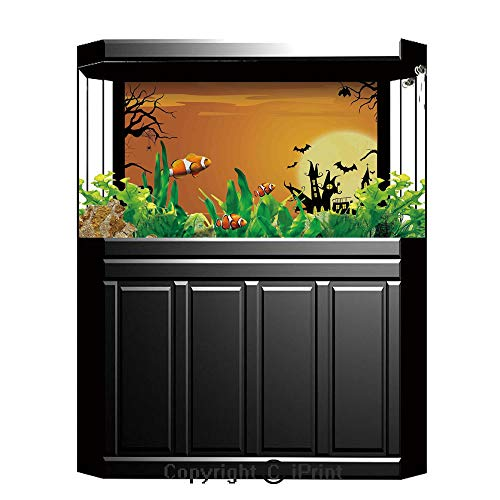 Terrarium Fish Tank Background,Halloween Decorations,Gothic Haunted House Bats Western Spooky Night Scene with Pumpkin,Orange Black,Photography Backdrop for Pictures Party Decoration,W48.03