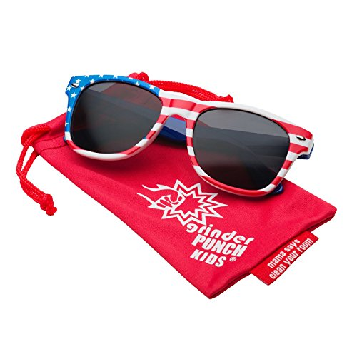 6067142635a grinderPUNCH Kids American USA Flag Sunglasses for Boys and Girls Ages 3-10