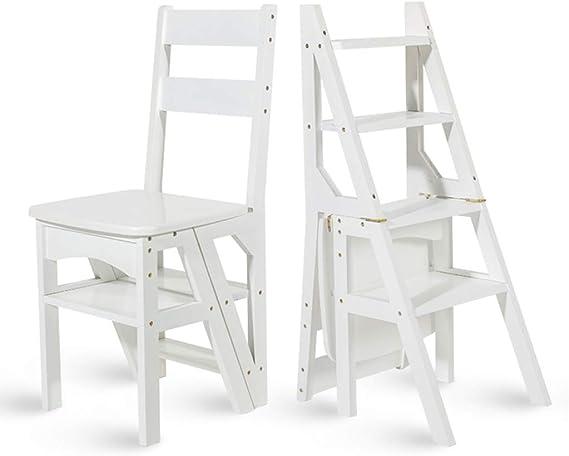 Sillas Plegables Fip Step Stepder Escalera de bambú Taburetes de Tijeras Silla de Comedor multifunción Decorativa para el hogar Estante o escaleras para Subir escaleras, de Madera, Blanco: Amazon.es: Hogar