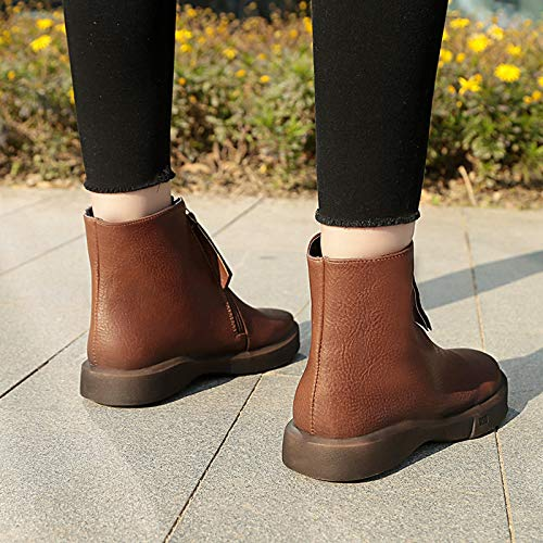 Flat 5 Knight Women Brown UK Ankle Color Casual Boots Gaslinyuan Size 4 Zipper qpwSEWa