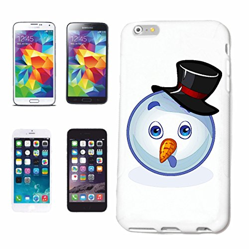 "cas de téléphone iPhone 6+ Plus ""SCARED AS SMILEY SNOWMAN ""SMILEYS SMILIES ANDROID IPHONE EMOTICONS IOS grin VISAGE EMOTICON APP"" Hard Case Cover Téléphone Covers Smart Cover pour Apple iPhone en blan"