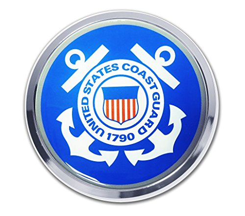 Coast Guard (Blue) Chrome Auto Emblem Guard Emblem
