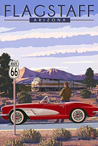 (Flagstaff, Arizona - Route 66 (12x18 SIGNED Print Master Art Print w/Certificate of Authenticity - Wall Decor Travel Poster))