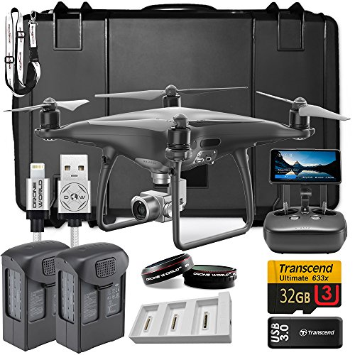 DJI Phantom 4 Pro Plus Obsidian Bundle Upgrade Kit w/ Hard Travel Case, Lens Filters, 1 Extra Battery (2 Total) Triple Battery Charging Hub, 32 GB and More (Four Triple)