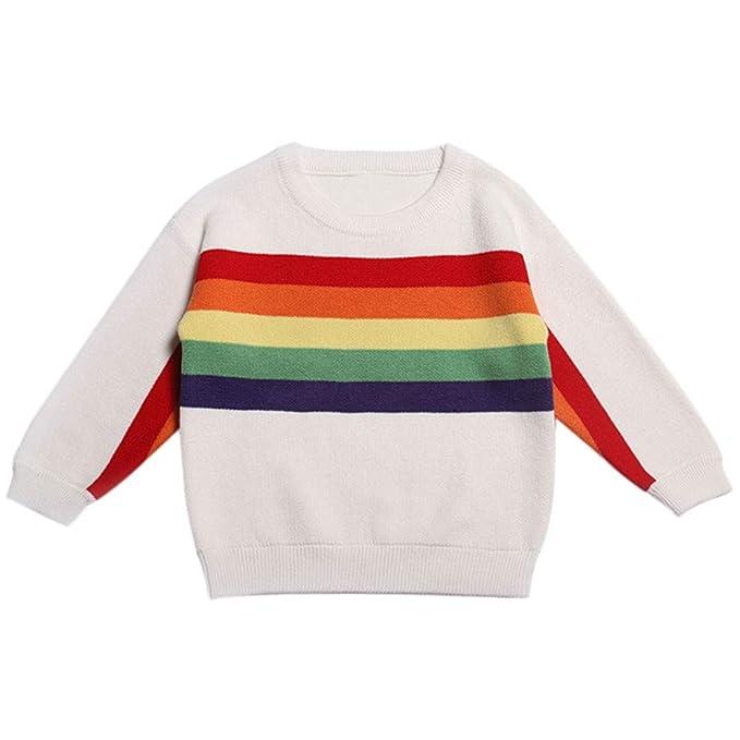 bed112a9c48 K-youth Jersey de Punto para Niños Niñas Rayas Arcoiris Suéter Chicas  Chicos Ropa Bebé