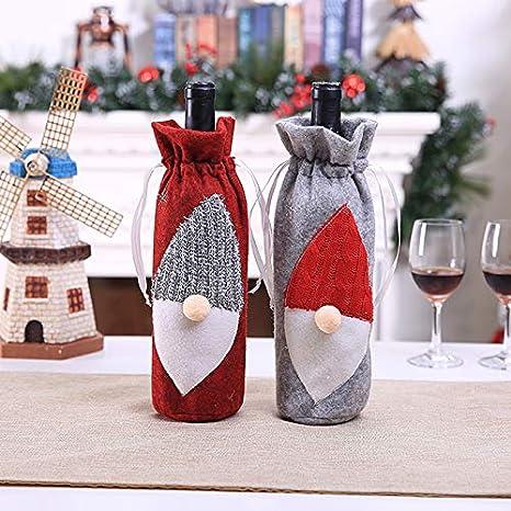 Bolsas Botella de Vino Navidad - Bolsa de Cordón Vino Tinto Botella Santa Claus Maleta de Vino Decoración de Hogar Suministros de Vacaciones: Amazon.es: ...