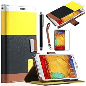 Matek (TM) Yellow /Black Wallet PU Leather Flip Case Cover Stand For Samsung Galaxy Note 3 III N9000