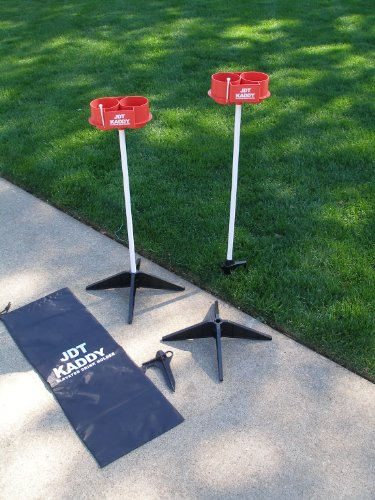 JDT Kaddy Elevated Drink Holders (Set of Two) - Comes with both ground stakes and hard surface stands. Great for outdoor games. by JDT HARRIS INC (Image #1)