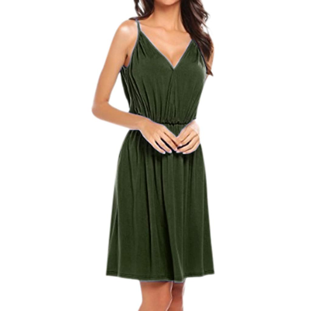 Dresses for Women Solid V Neck Sleeveless Empire Waist Pleated Loose Swing Casual Midi Dress (3XL, Green) by pafei Women's Dress (Image #1)