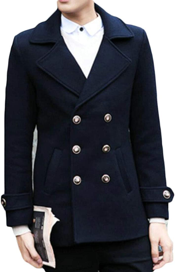 Nanquan Men Casual Solid Long Sleeve Lapel Double Breasted Trench Coats