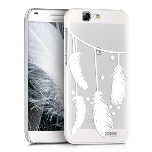 kwmobile Crystal Case for Huawei Ascend G7 with Design Feathers on a string - transparent Protection Case Cover clear in white transparent