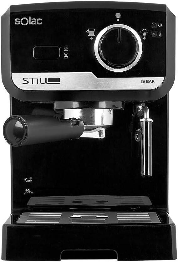 Solac CE4493 - Cafetera Espresso 19 Bar, bomba de presión 19 bares, con portafiltros, vaporizador inox y apagado automático, color negro: Amazon.es: Hogar
