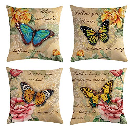 Pillow Butterfly Decorative - Homyall Flower Butterfly Decorative Pillow Covers Cotton Linen Spring Throw Pillow Covers Set of 4 Square Farmhouse Cushion Covers 18x18 inch, 4 Packs (Flower Butterfly)