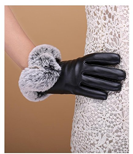 Generic Japan and South Korea new winter leather gloves women girls lady full touch screen plus velvet warm outdoor cycling gloves