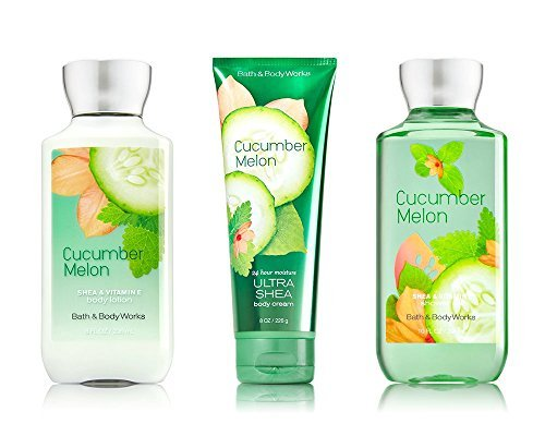 Bath Gift Set 3 Piece - Bath & Body Works Signature Collection Cucumber Melon 3 Piece Gift Set: Body Cream, Shower Gel & Body Lotion