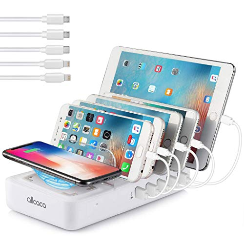 (ALLCACA Wireless Charging Station for Multiple Devices - Fast Charging Dock Organizer with 5 USB Ports and 1 Qi Wireless Charging Pad for iPhone, ipad, Samsung, Android Phone, Tablet)