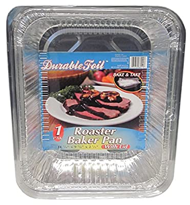 Durable Foil Aluminum Roasting Pans with Display (Pack of 96 Pans)