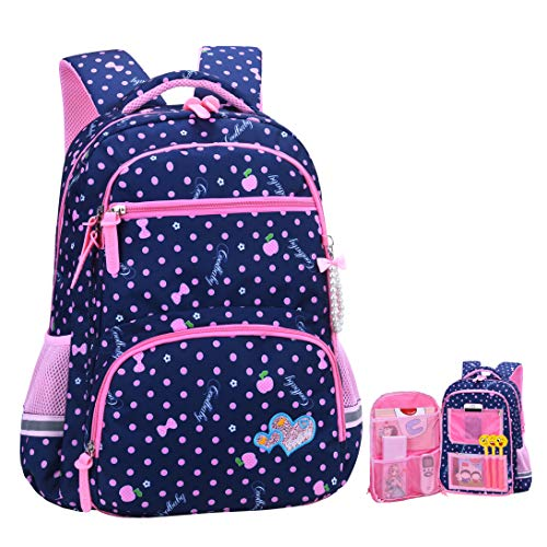 Awesome Backpacks For Girls (Girls Backpacks for Elementary, Polk Dots School Bag for Kids Primary Bookbags (Girls Backpacks for Elementary Navy Blue, Large for Grade)