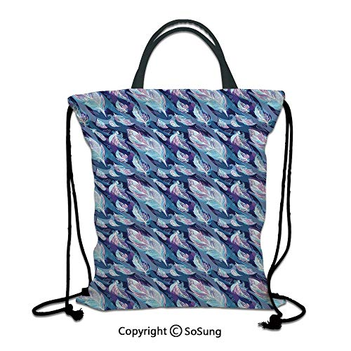 Indigo 3D Print Drawstring Bag String Backpack,Paisley Design with Feathers and Wavy Floral Decor Print,for Travel Gym School Beach Shopping,Light Blue Purple Navy Blue and White - Bottle Paisley Bag Park