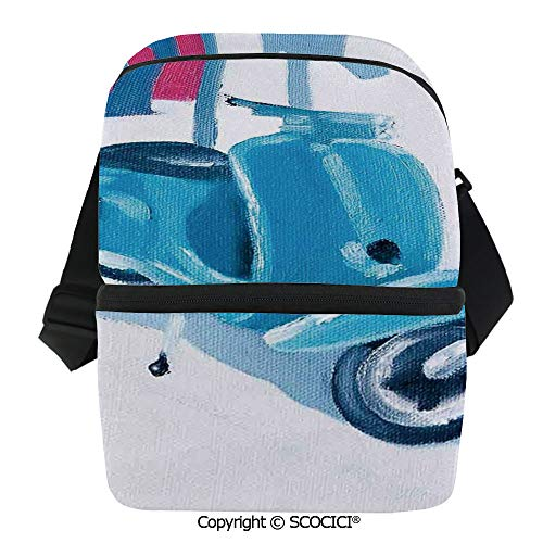 (SCOCICI Insulated Lunch Cooler Bag Mini Scooter in a Soft Mediterranean Mid Day Light Italian Town Life Symbol Art Paint Reusable Lunch for Men Women Heat Insulation,Heat Protection )