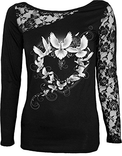 Spiral - Womens - Doves Heart - Lace One Shoulder Top Black - XXL