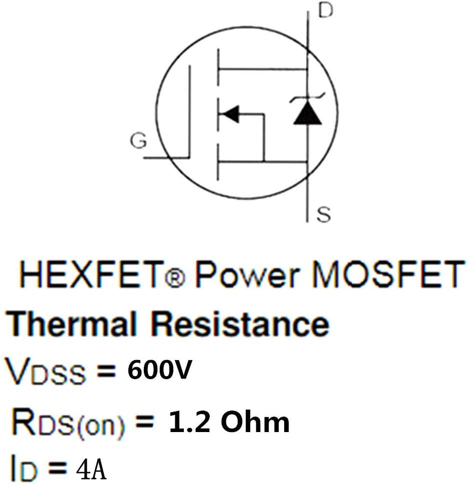 Electronic Components /10Pcs Power Transistor Field Effector 4N60 TO-220F MOSFET Tube for Adapters
