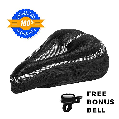 Roam Gel Bike Seat - Extra Soft Gel Bicycle Seat - Bike Saddle Cushion with Water & Dust Resistant Cover (Butt Dust)