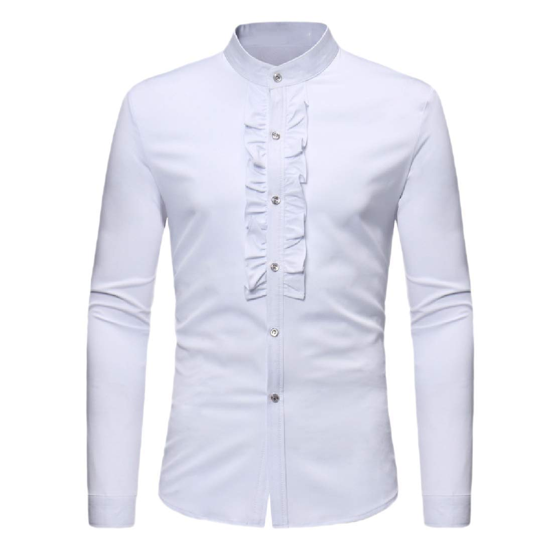 Zimaes-Men Solid Colored Long Sleeve Button Chinese Style Tops Shirts
