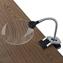 """Ivation LED Lighted 2x Magnifier With Helping Hands - Clip-On & Freestanding Design - 2x Magnifier with 5x Magnifier Inset Lens - 2x 9"""" Adjustable Flexible Gooseneck 'Helping Hand' Clamps - Unique Multifunction Base for Freestanding Use or Clip-On Use on Tabletop, Desktop or Countertop - Battery Operated"""