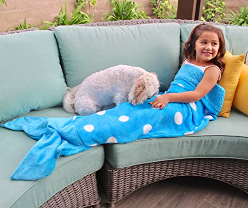 Butterfly Craze Mermaid Tail Blanket for Women, Teen and Kids, Medium, Blue