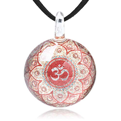 (Hand Blown Glass Jewelry Om Ohm Aum Symbol Mandala Design Round Pendant Necklace, 17-19 inches (Red))