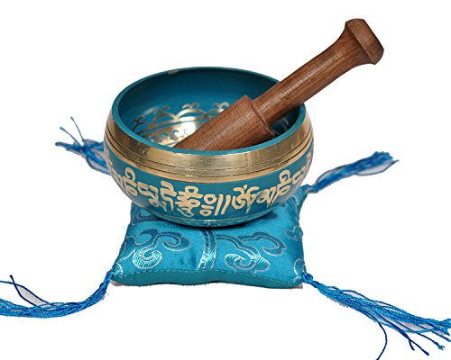 Tibetan Singing Bowl Set By Dharma Store - With Traditional Design Tibetan Buddhist Prayer Flag - Handmade in Nepal (Turquoise) by Dharma Store (Image #2)
