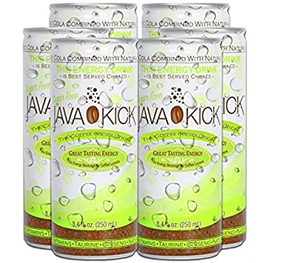 Java Kick Coffee Cola Flavored Energy Drink Infused with Vitamin B-Complex, CoQ10, Ginseng, Taurine, Niacin, and Vegan, Gluten + Dairy Free, 8.4 Ounces