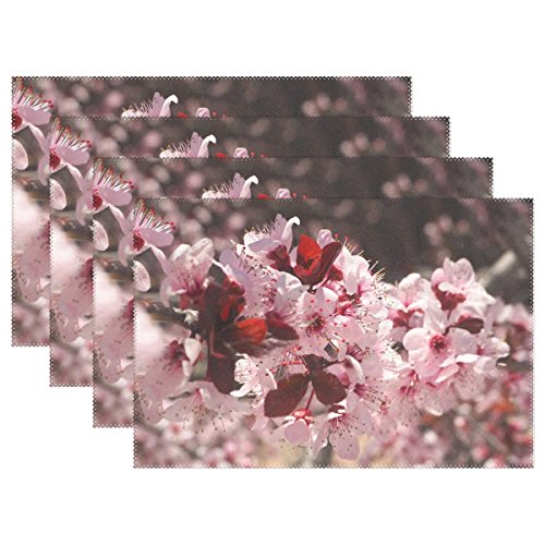 Flowering Trunk (ENEVOTX Prunus Flower Spring Cherry Hill Tree Flowering Placemats Set Of 4 Heat Insulation Stain Resistant For Dining Table Durable Non-slip Kitchen Table Place Mats)