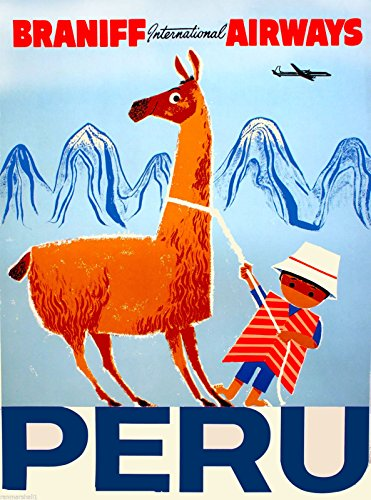 A SLICE IN TIME Peru Inca South America Little Boy Llama Braniff International Airways Vintage Airline Travel Advertisement Poster Print. Measures 10 x 13.5 inches
