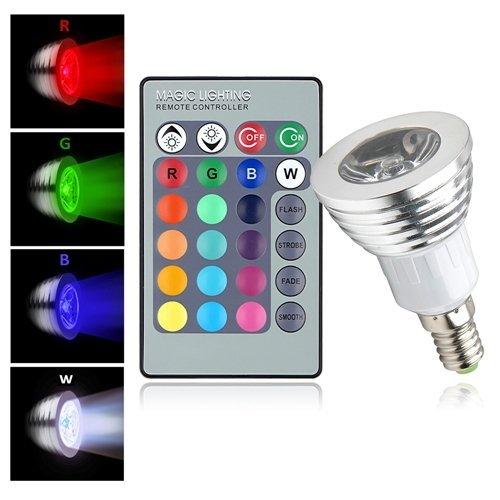 E14 3w Lampe Ampoule Led Blanc 85 265v Rvb Avec 16 Couleurs Ir
