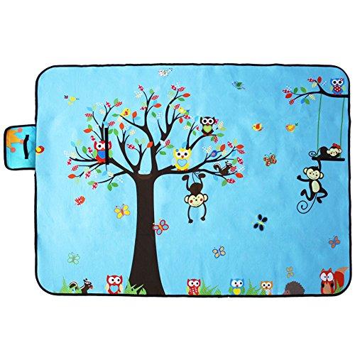 Kenmont Large Baby Kids Carpet Playmat Rainbow Unicorn Cartoon Nursery Rugs Waterproof Picnic Blanket Storage Bag Outdoor Mats (Animal Zoo Monkey Tree)