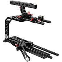 CAMTREE Blackmagic Ursa Mini CNC Camera Cage Tripod mounting Dovetail Plate, Comfortable Shoulder pad with Rail Rods, ROSETTE ARM for Smooth Video Shooting (CH-BMUM-C)