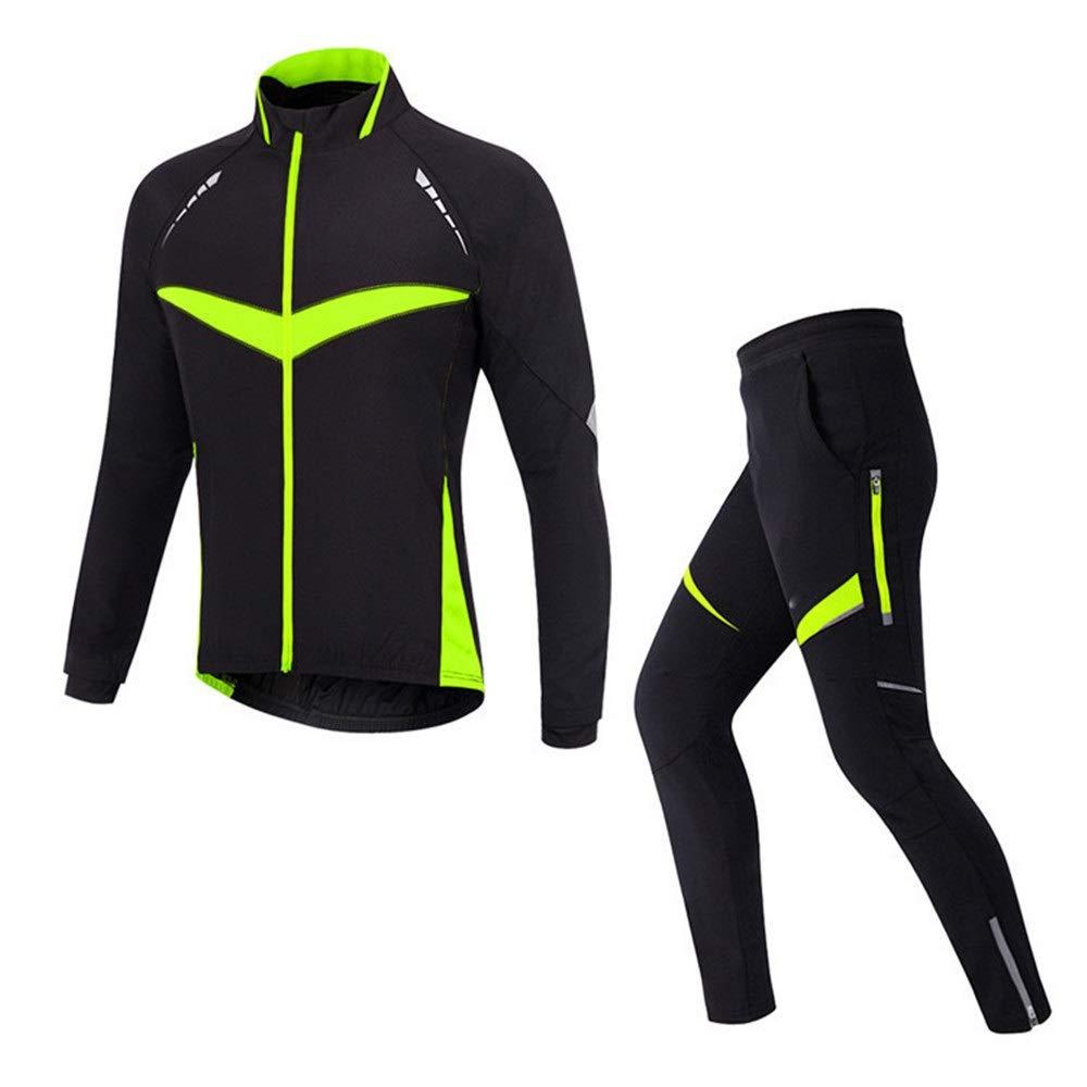 Vert grand Maillot de cyclisme Par temps froid Unisex Cyclisme Jersey Costume Gardez Au Chaud à Manches Longues Vélo VêteHommest VêteHommests Costumes Avec Coussin 3D Coussin Rembourré Riding courtes Collants Pantalons
