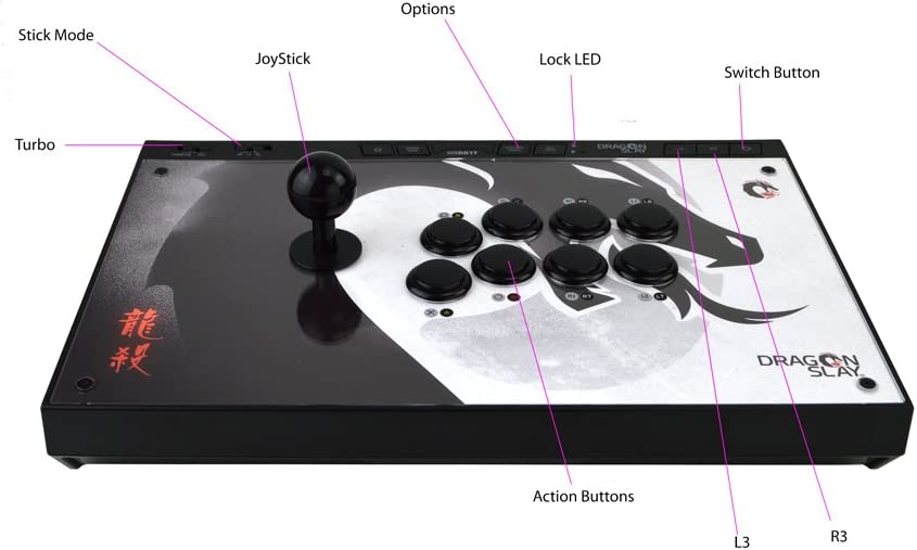 Amazon.com: DRAGON SLAY Universal Arcade Fight Stick Controller - 8 Button Compatible with PS4, Xbox One, PC & Android: Video Games