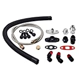 Turbo Charger Oil Drain Return Feed Line Kit Fit For T3 T4 T04E T60 T61 T70
