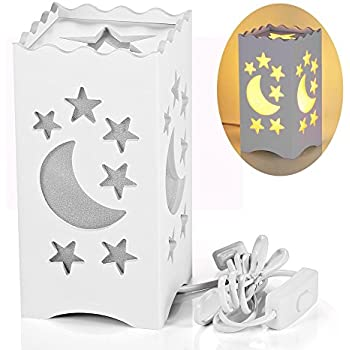 Pandawill Table Light White Art With Moon And Star Shaped Carving Desk Lamp Night For Bedroom Dorm Living Room