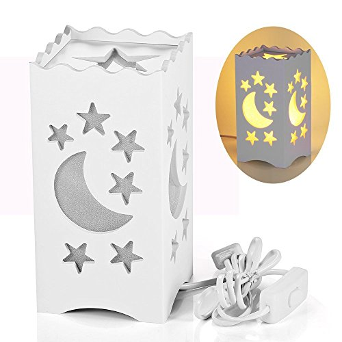 Pandawill Table Light White Art Light with Moon and Star Shaped Carving, Desk Lamp Night Light for Bedroom, Dorm, Living Room by Pandawill
