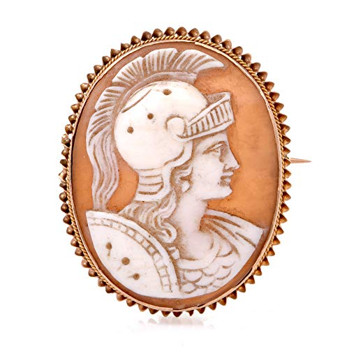 Dover Jewelry Yellow Gold Roman Warrior High Relief Shell Cameo Pin Brooch