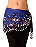 Royal Blue Belly Dance Coin Scarf