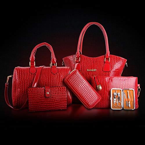 Luxus Leder 6 6 6 Stücke Set Art und Weise Frau Composit Beutel-große Kapazitäts-Handtaschen-Schulter-Beutel Crossbody Beutel-Karten-Beutel-Geldbeutel-Mappe (Schwarz) B07PVD2VTY Damenhandtaschen Trendy ce308b